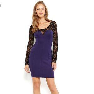 Guess lace dress bodycon purple & black longsleeve